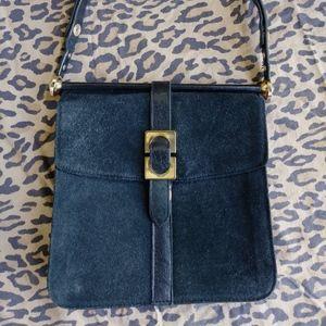VTG 1960s Black Suede Top Handle Handbag